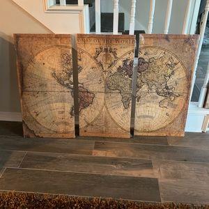 3 Panel Globe Wall Art
